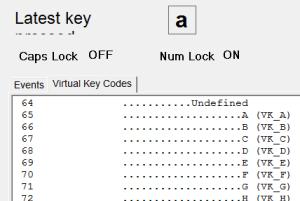software to display virtual key codes and names for non-character keys