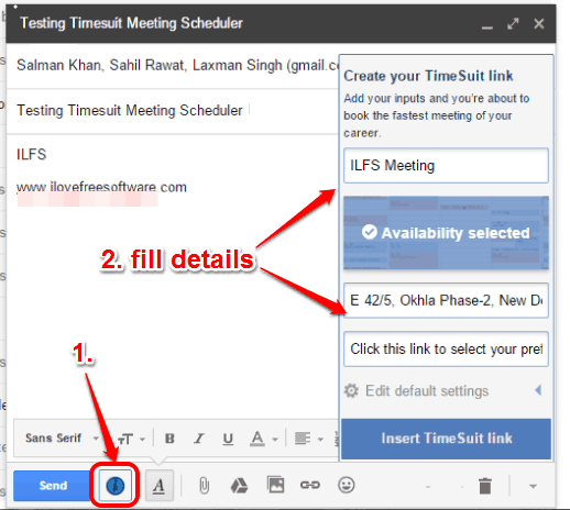 use Timesuit icon to open pop up to fill meeting details