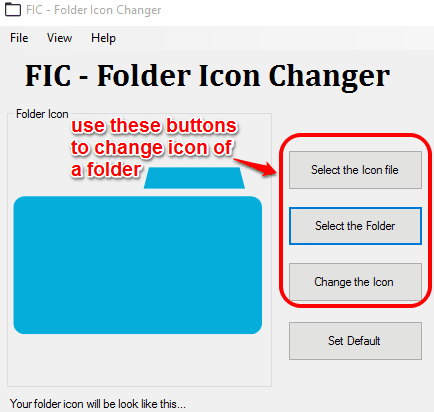 use available buttons to change folder icon