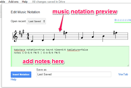use code box to insert notes and preview music notation
