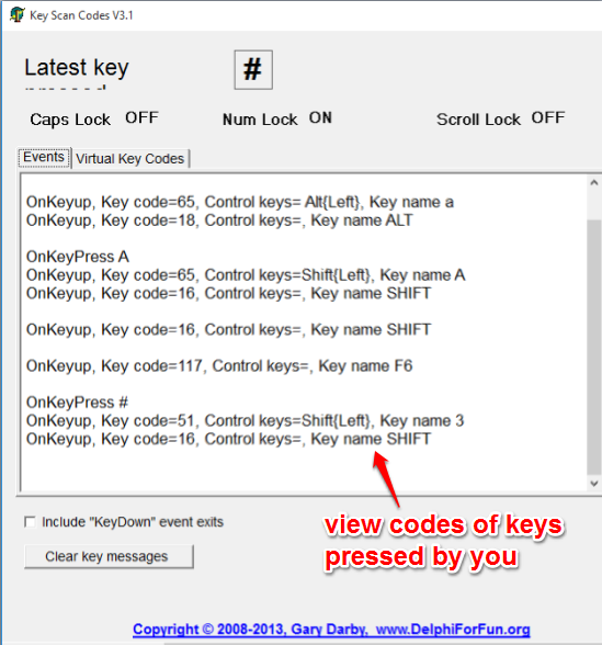view codes of keys pressed by you