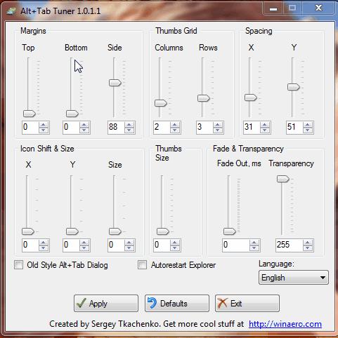 Alt+Tab Tuner interface