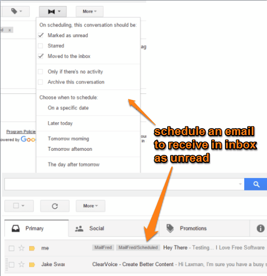 Chrome extension to schedule an email and receive in inbox as unread