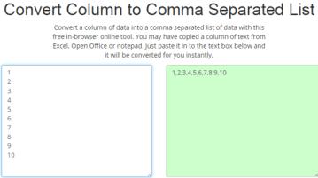 Column to CSV