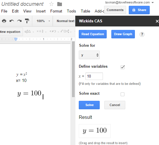 Google Docs add-on to solve equations and plot graphs