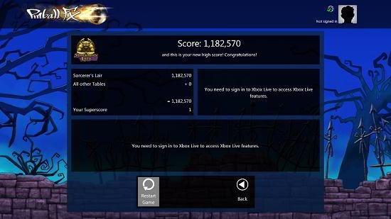 Pinball FX2 Windows 10 score