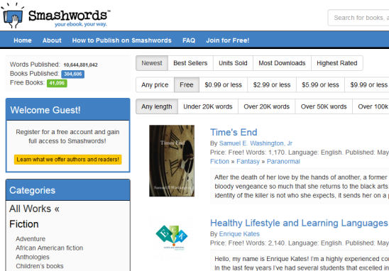 Smashwords- download free Kindle books and other format books