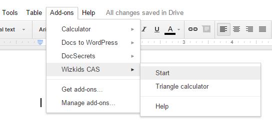 access Wizkids CAS option from add-ons menu