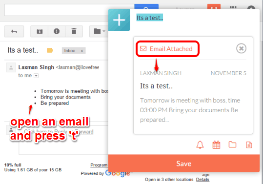 add an email as to-do