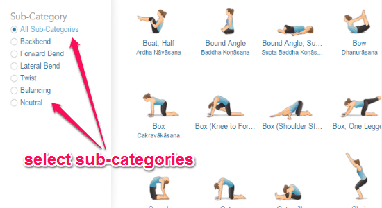 choose sub-categories