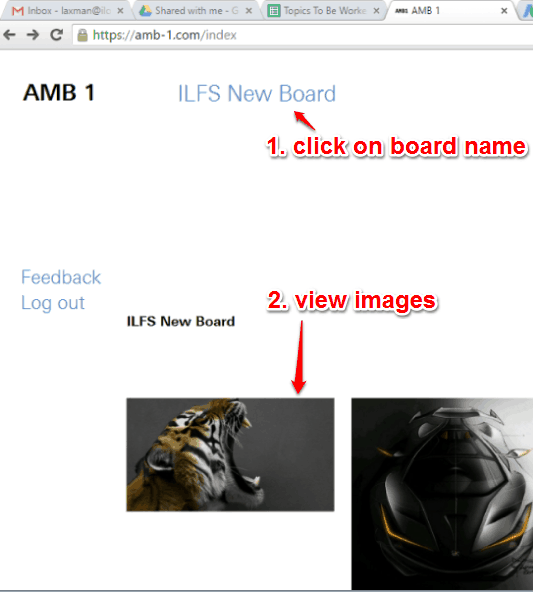 click board name to access images