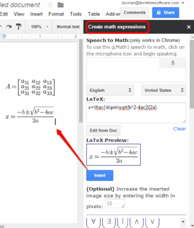 create and insert Math expressions and graphs in Google Docs document