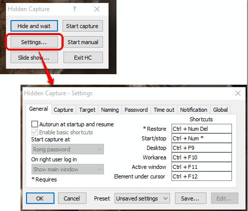 customize the settings