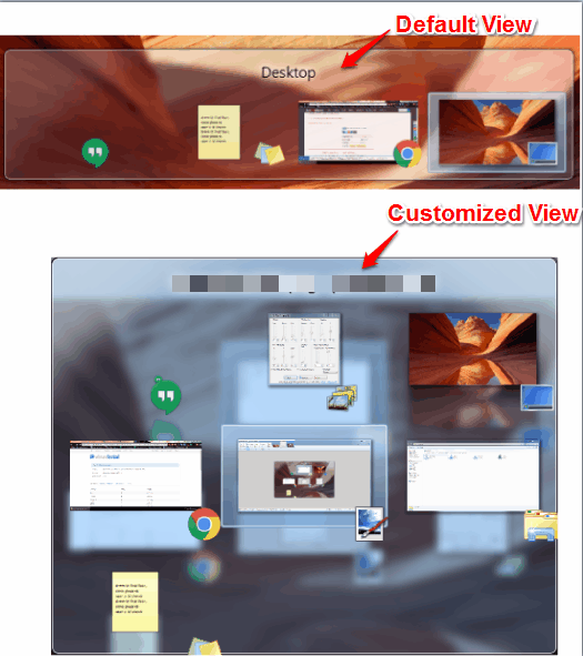 default and customized view of Alt-tab task switcher