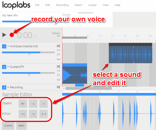edit the sound and record your own voice