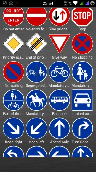 eu road sign learning apps android 5