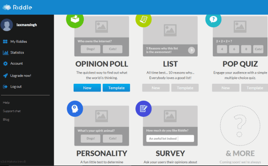 free website to create unlimited polls, surveys, lists