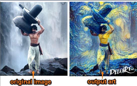 original image and output art