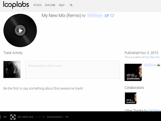 others can listen to your music and add comments