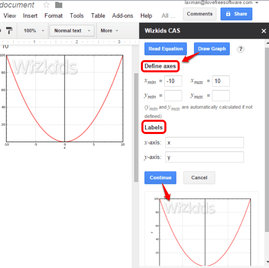 plot the graph for equation