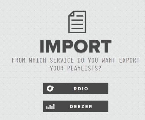 select the service from which you want to export the playlist