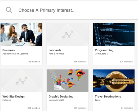 select your primary interest