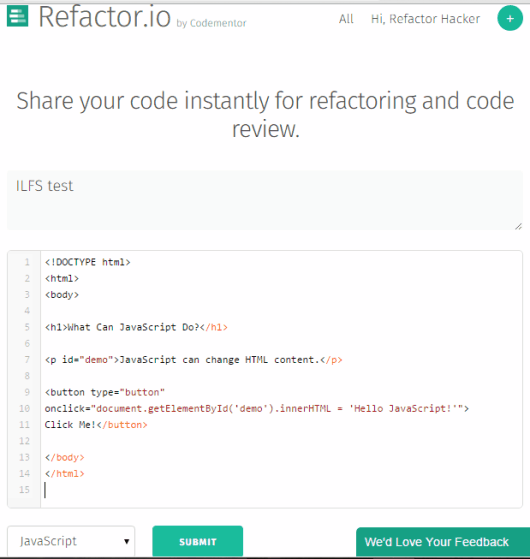 submit code for code refraction