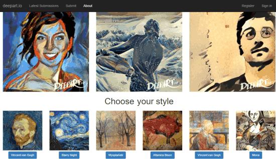 turn images into arts using deepart.io website