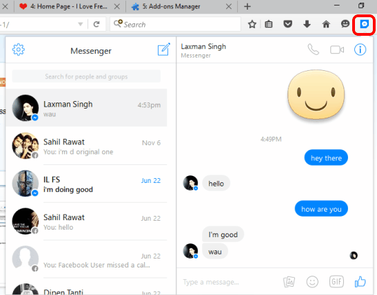 use Facebook Messenger in a pop up window