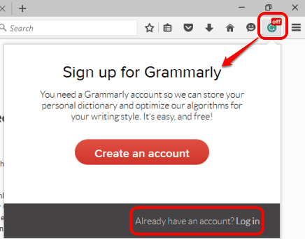 use add-on icon to sign up or sign in to your Grammarly account