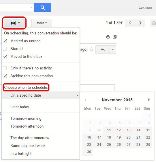 use extension icon and choose when to schedule