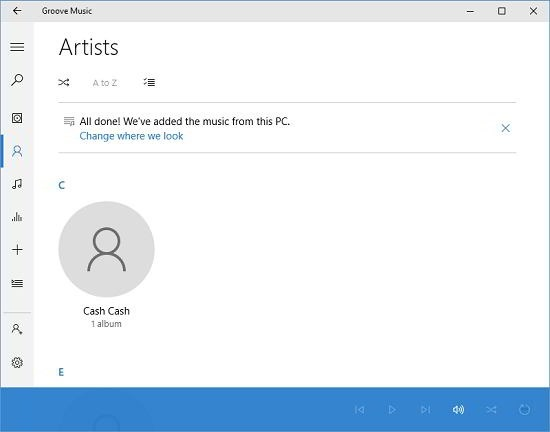 Groove Music artist view