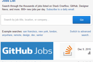 Jobs List- search for GiHub Jobs, Stack Overflow, Designer News Jobs