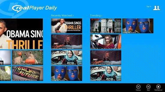 Realplayer daily videos action bar