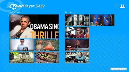 Realplayer daily videos main screen