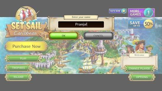 Set sail main screen
