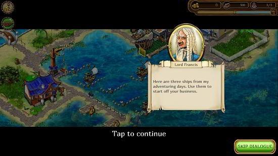 Set sail tutorial dialog