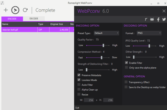 WebPconv- interface and options