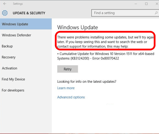 Windows 10 update disabled