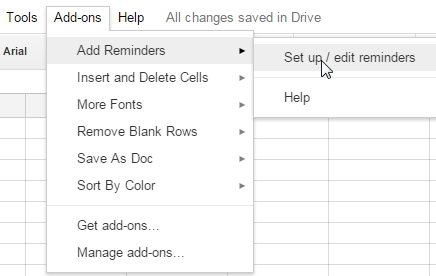 access Add Reminders option