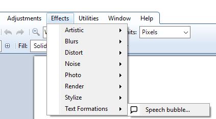 access Speech Bubble option in Effects menu