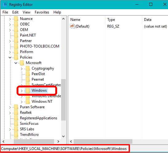 access Windows key in Registry Editor