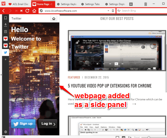 add webpages to panels