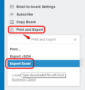 click Export Excel option