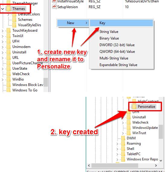 create Personalize key