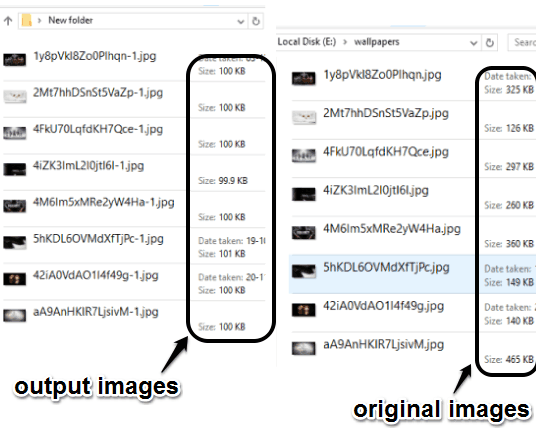 difference between the size of output and original images