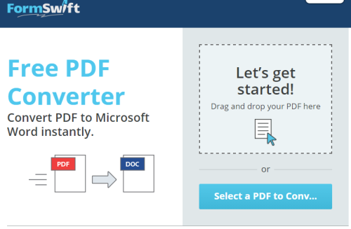 Online Convert PDF To DOCX with Drag n Drop Action