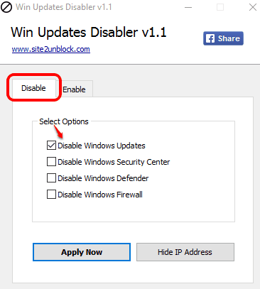 select disable Windows updates option