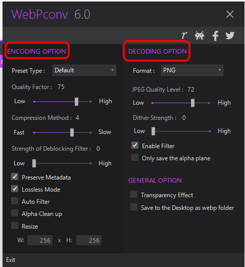 set encoding and decoding options using Settings