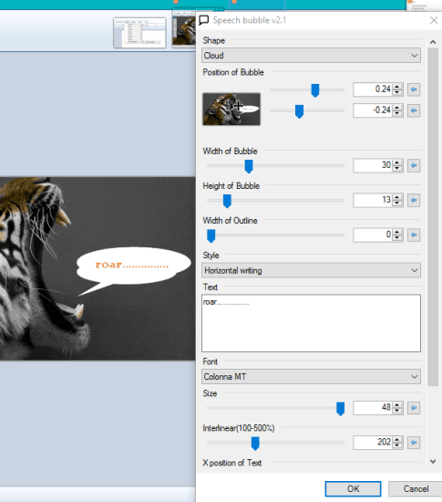 use Speech Bubble window and preview the changes